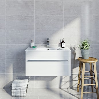 Lux dove grey gloss tile 298mm x 598mm