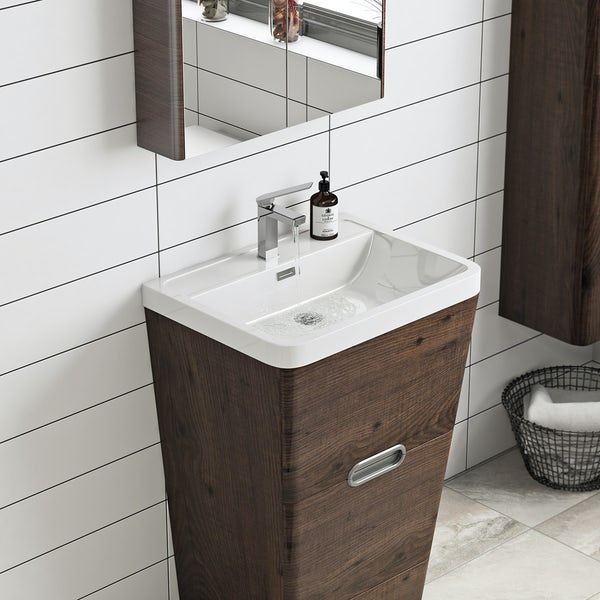 Mode Sherwood chestnut floor standing vanity unit and resin basin 600mm