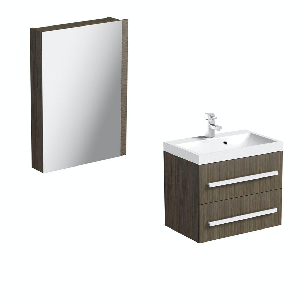 Arden Walnut Wall Hung Vanity Unit With Basin & Mirror - 600mm