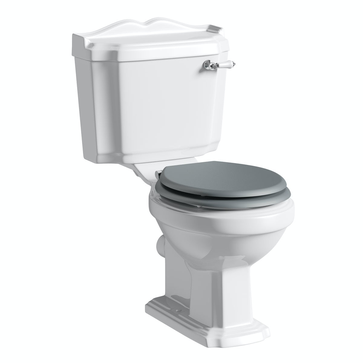 The Bath Co. Winchester close coupled toilet with grey soft close seat with pan connector