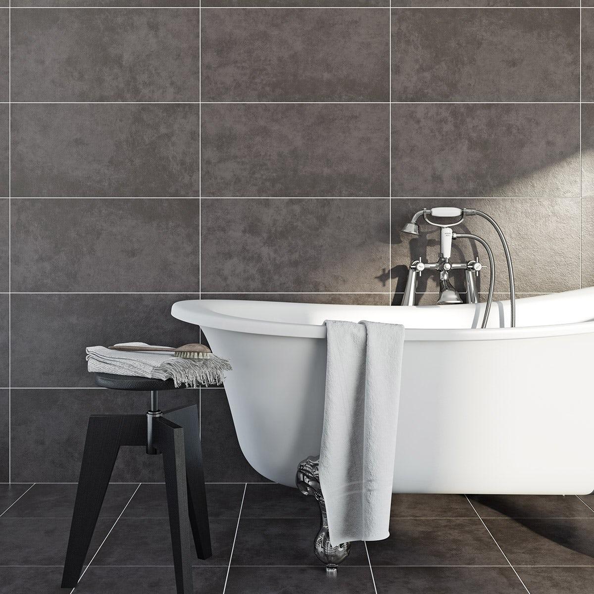 Charcoal grey bathroom tiles - British Ceramic Tile Canvas Charcoal Grey Matt Tile 298mm X 598mm