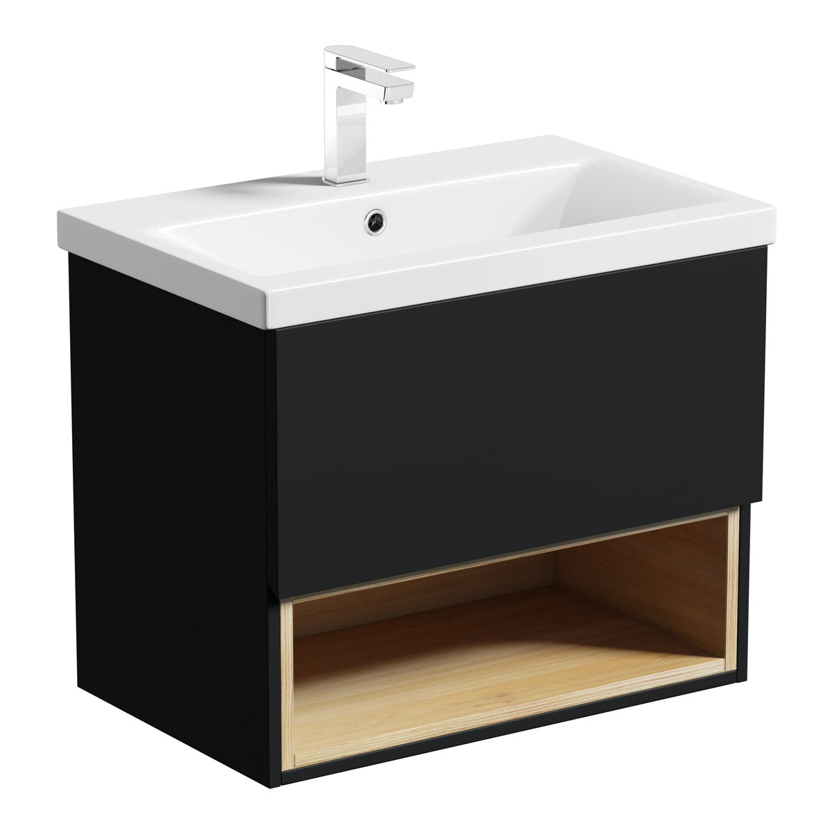 Black bathroom cabinet - Mode Tate Anthracite Oak 600mm Wall Hung Vanity Unit With Basin