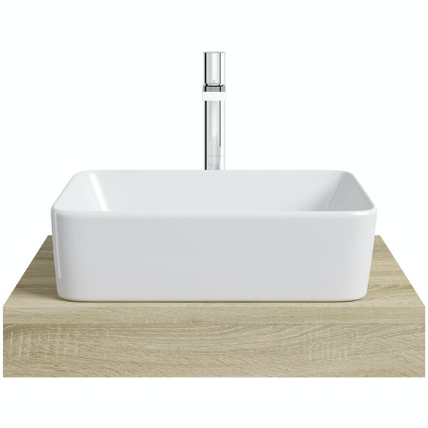 Mode Orion oak countertop shelf with Ellis basin, tap and waste