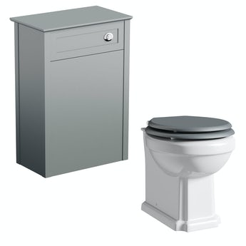 The Bath Co. Camberley grey back to wall unit and traditional toilet with grey wooden seat