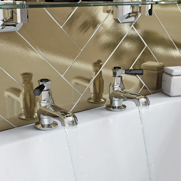 The Bath Co. Beaumont lever wall mounted basin mixer and bath pillar tap pack