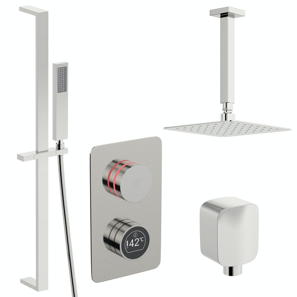Mode Touch digital thermostatic shower set with square ceiling arm and slider kit