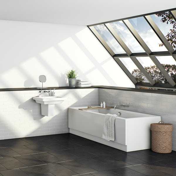 Kirke square edge double ended reinforced bath 1700 x 700 with reinforced front panel