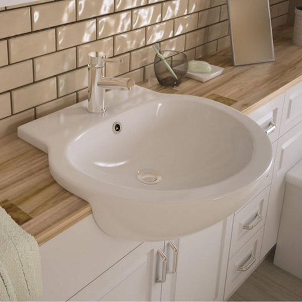 Maine Florence 1 tap hole semi recessed countertop basin 545mm with waste