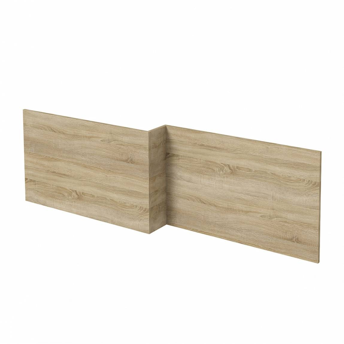 L shaped shower bath wooden front panel Drift oak 1500mm