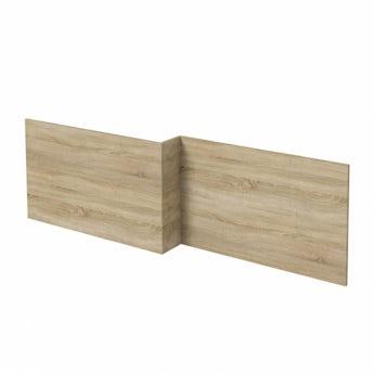 L shaped shower bath wooden front panel Drift oak 1500mm