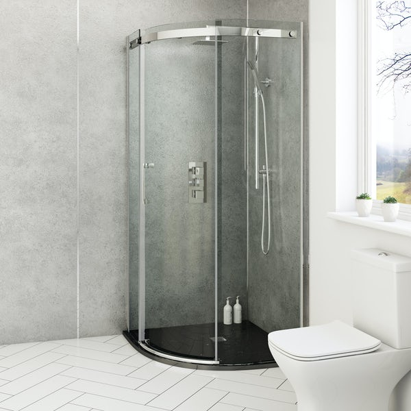 Mode Harrison 8mm easy clean quadrant shower enclosure with black slate effect tray 900 x 900