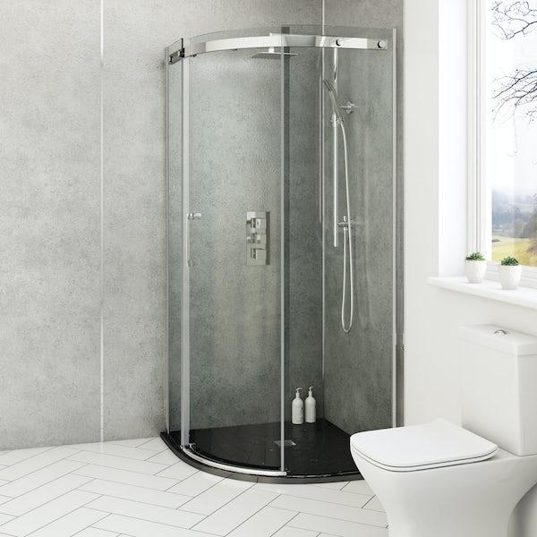 ModeHarrison8mm easy clean quadrant shower enclosure with black slate effect tray 900 x 900