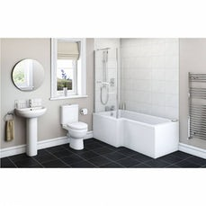 Image of Energy Bathroom Suite with Boston 1700 x 850 Shower Bath LH & Free Tap