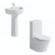 Arte close coupled toilet and full pedestal basin suite 550mm