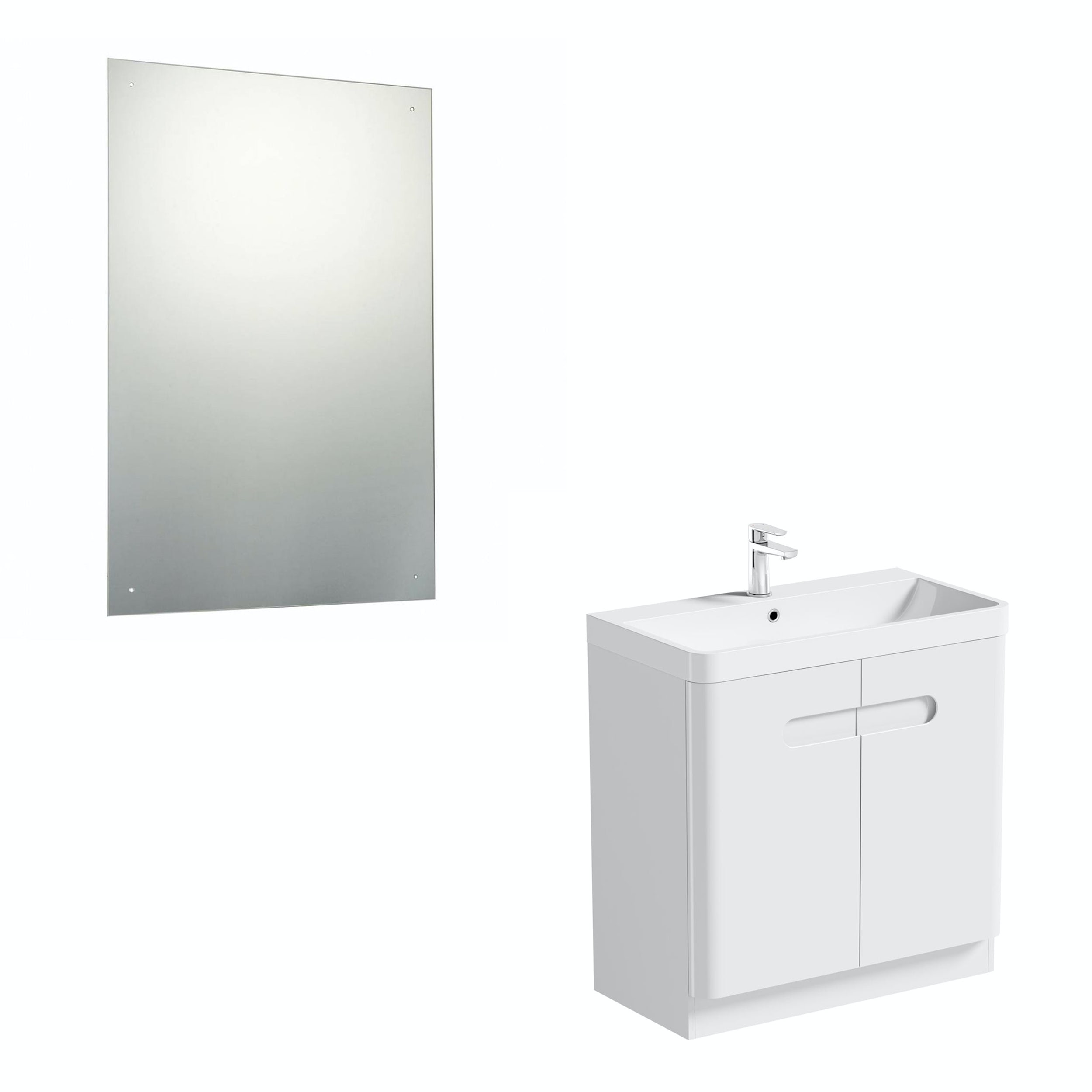 Mode Ellis white vanity door unit 800mm and mirror offer