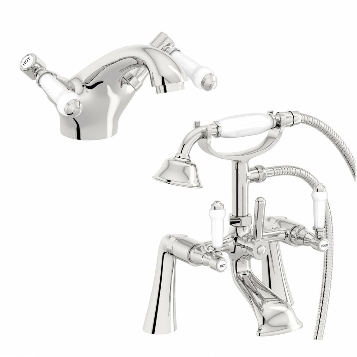 The Bath Co. Winchester basin and bath shower mixer tap pack
