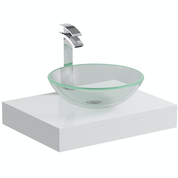 Mode Orion white countertop shelf with Mackintosh basin, tap and waste