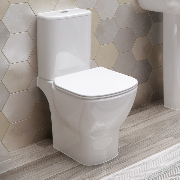 ideal standard tesi close coupled toilet with aquablade rimless technology and soft close seat. Black Bedroom Furniture Sets. Home Design Ideas