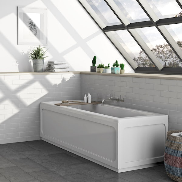 SmarTap & Mode complete rimless suite with straight bath with intelligent fill and shower, taps and wastes