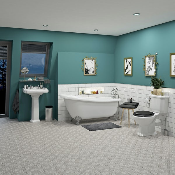 The Bath Co. Winchester complete roll top bath suite with taps ...
