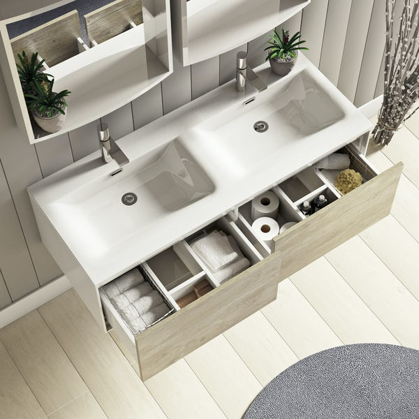 Mode Burton white & rustic oak wall hung double basin vanity unit 1200mm