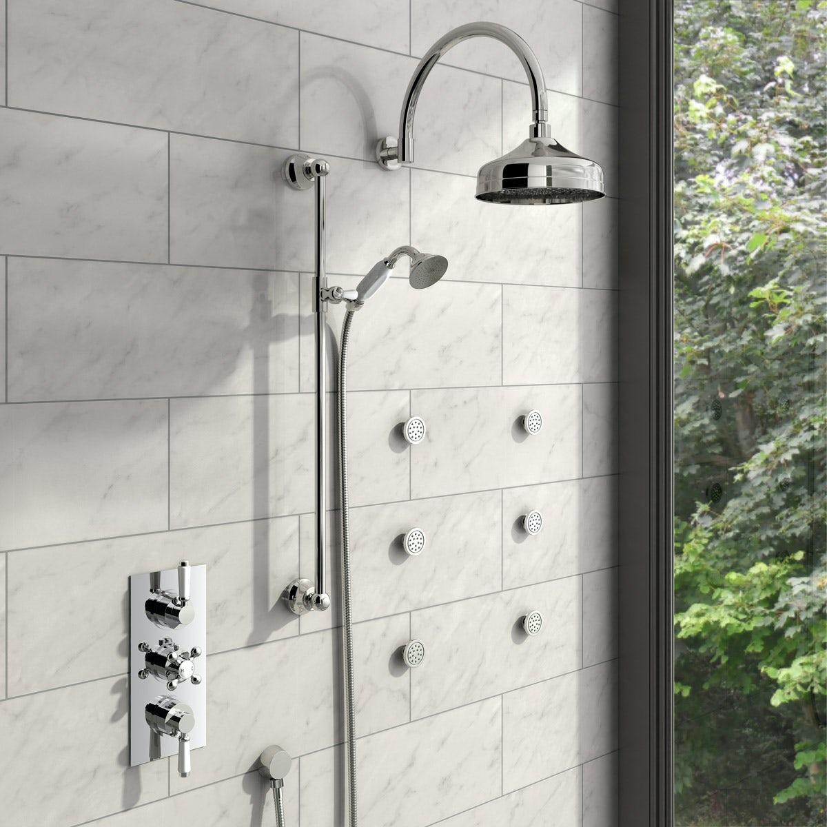The Bath Co Triple Diverter Shower Valve With Body Jets Rail Set ...