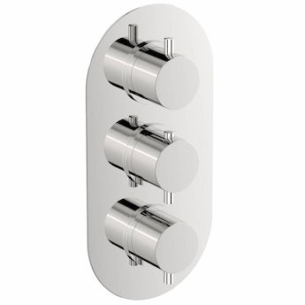Mode Matrix oval triple thermostatic shower valve with diverter