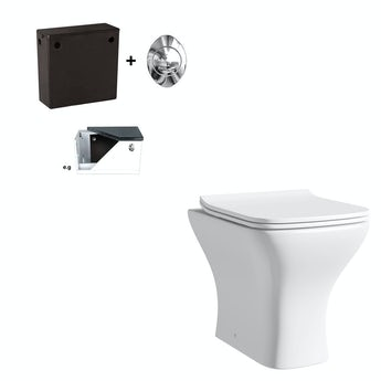 Compact Square back to wall toilet with soft close seat and concealed cistern