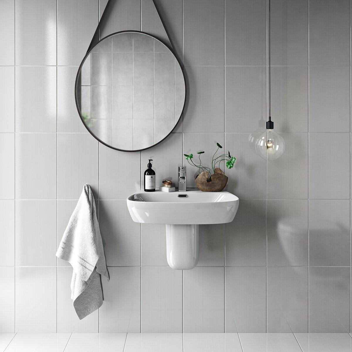 British Ceramic Tile Linear ivory gloss tile 248mm x 398mm