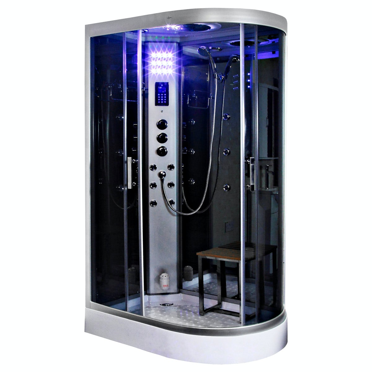 Insignia left handed offset quadrant steam shower cabin 1200 x 800