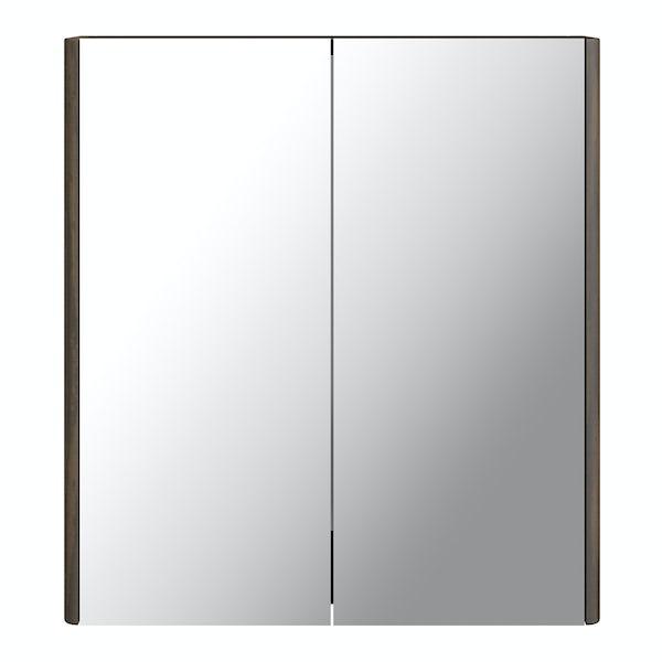 Sherwood Chestnut 600mm curved mirror cabinet