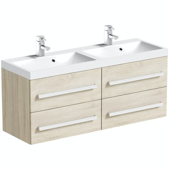 Orchard Wye oak wall hung double basin unit 1200mm