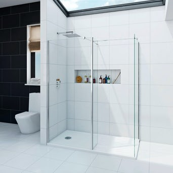 Spacious 8mm Walk in Shower Enclosure Pack with Tray 1600 x 800