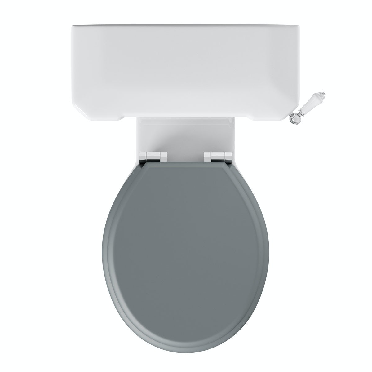 The Bath Co Camberley Close Coupled Toilet With Grey Soft Close - Light grey toilet seat