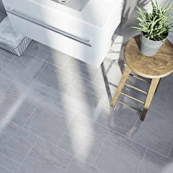 British Ceramic Tile Lux dove grey gloss tile 331mm x 331mm