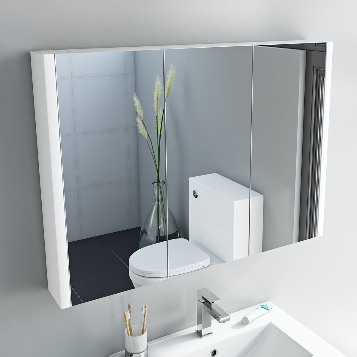 Derwent 3 door mirror cabinet