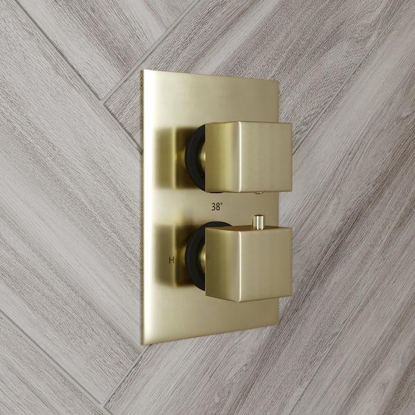 Mode Spencer square gold twin valve shower set
