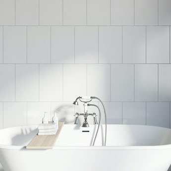 Studio Conran plain white field gloss tile 248mm x 398mm