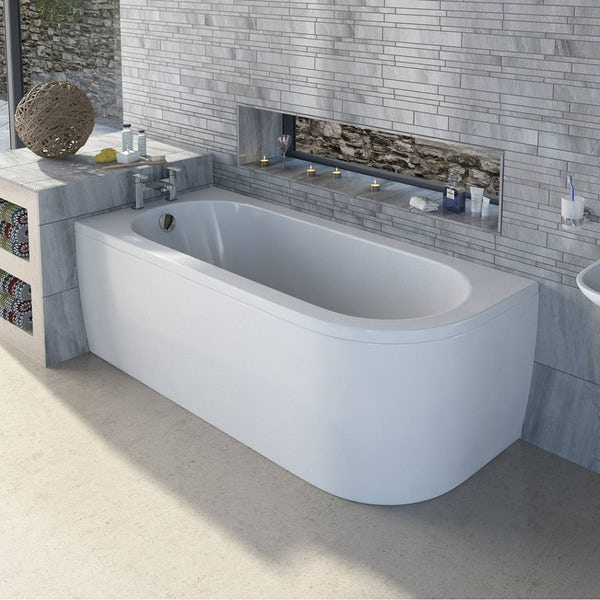 Cayman D Shaped Single Ended Back To Wall Bath LH