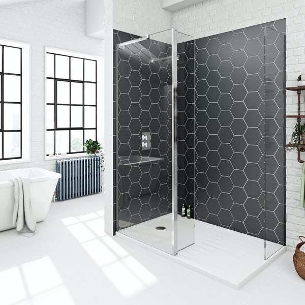 Mode 8mm spacious walk in shower enclosure with tray and hinged return panel