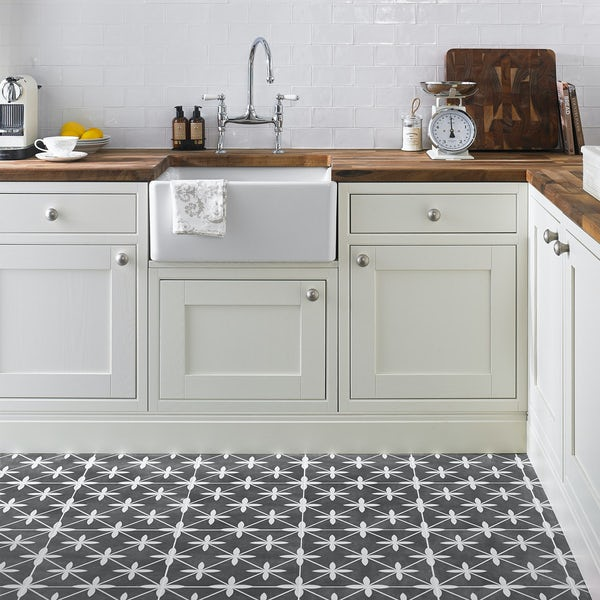 Laura Ashley Heritage wicker charcoal grey matt tile 331mm x 331mm