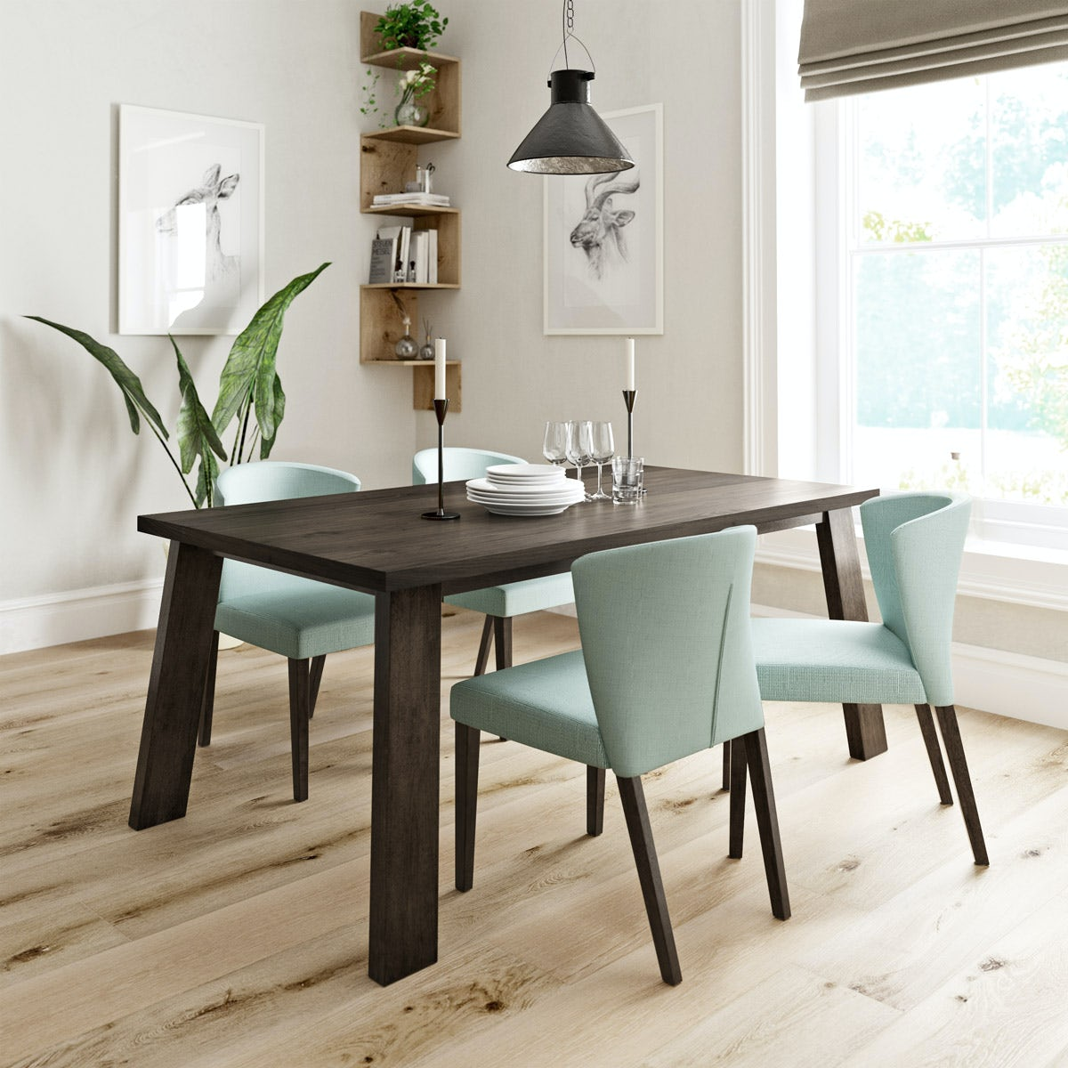 lincoln walnut dining table with 4 x hudson light cyan dining