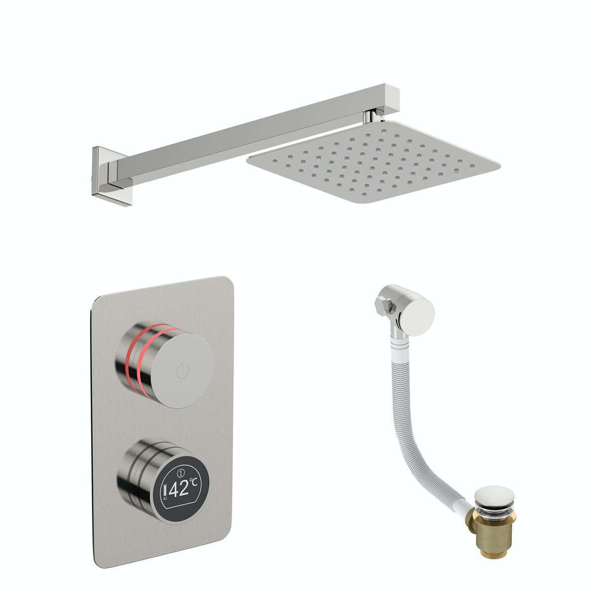 Mode Touch digital thermostatic shower set with square wall arm and bath filler waste