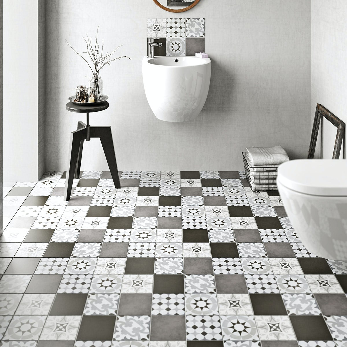 Laura Ashley Tiles >> British Ceramic Tile Patchwork pattern grey matt tile