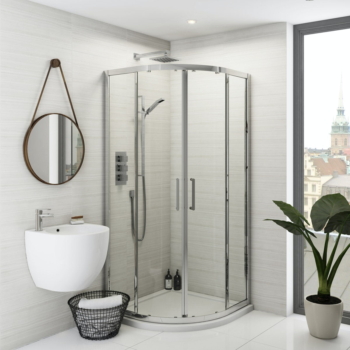 Free delivery Mode Ellis premium 8mm easy clean quadrant shower enclosure. Mode Ellis premium 8mm easy clean quadrant shower enclosure 1000 x