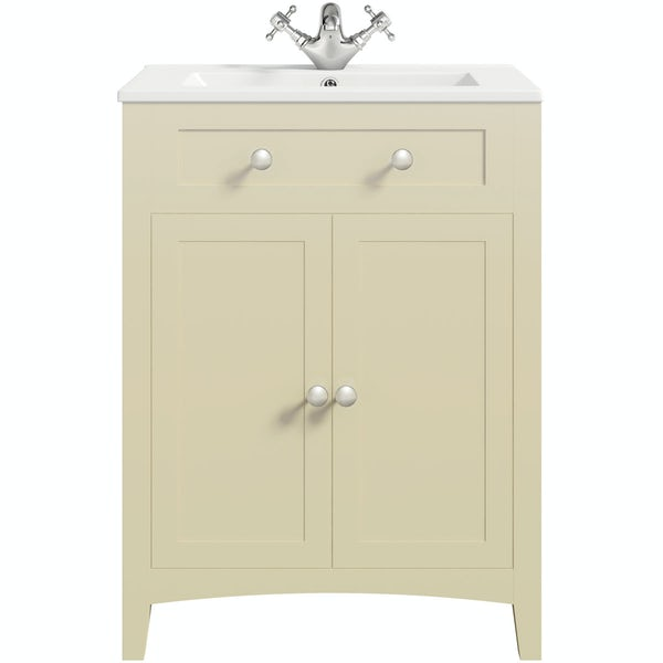 The Bath Co. Camberley satin ivory vanity unit with basin 600mm with mirror cabinet