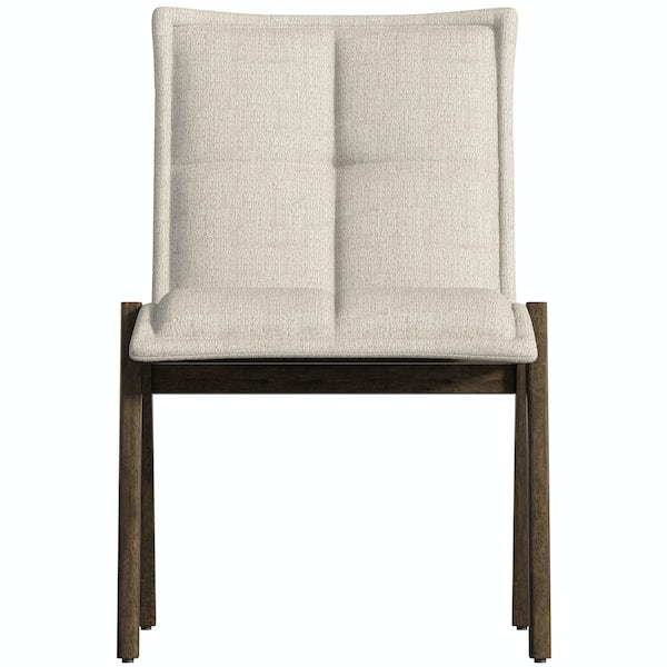 Ernest walnut table with 2x Hadley beige chairs