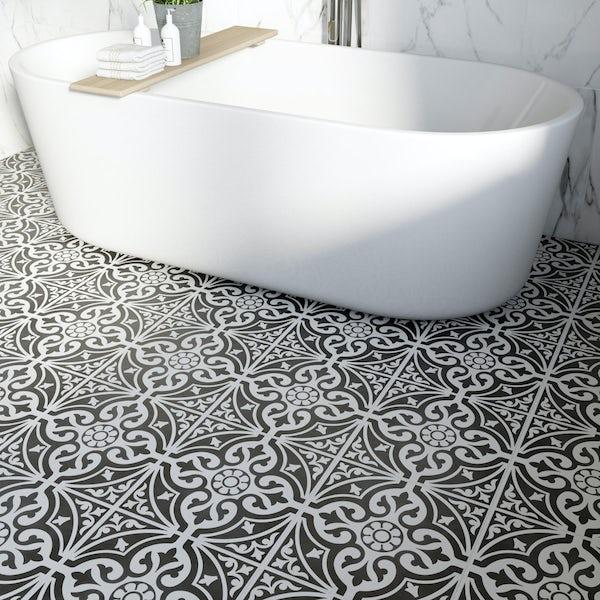 British Ceramic Tile Victoriana feature black matt tile 331mm x 331mm