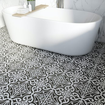 Victoriana feature black matt tile 331mm x 331mm