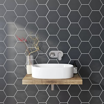 Hex black matt tile 175mm x 202mm